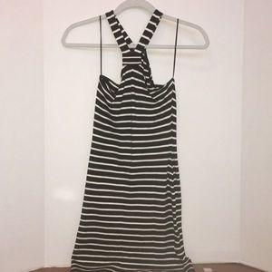 Topshop petite b&w bodycon halter mini dress, US 6
